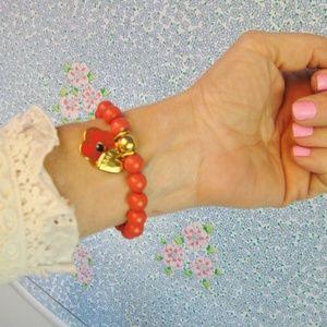 Coach Poppy Beaded Charm Bracelet Orange